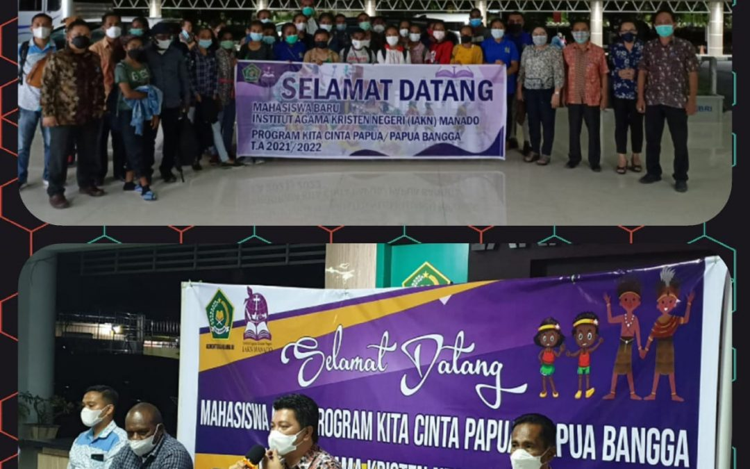 55 Mahasiswa Program Kita Cinta Papua/Papua Bangga Tahun Akademik 2021/2022 Tiba di IAKN Manado