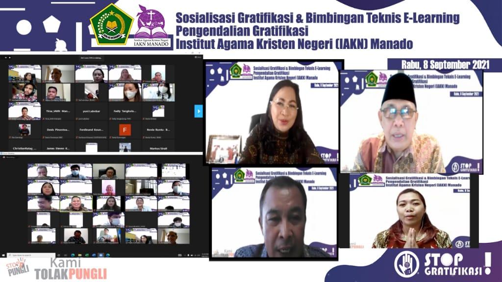 Sosialisasi Gratifikasi dan Bimbingan Teknis E-Learning Pengendalian Gratifikasi IAKN Manado Dilaksanakan Secara Virtual